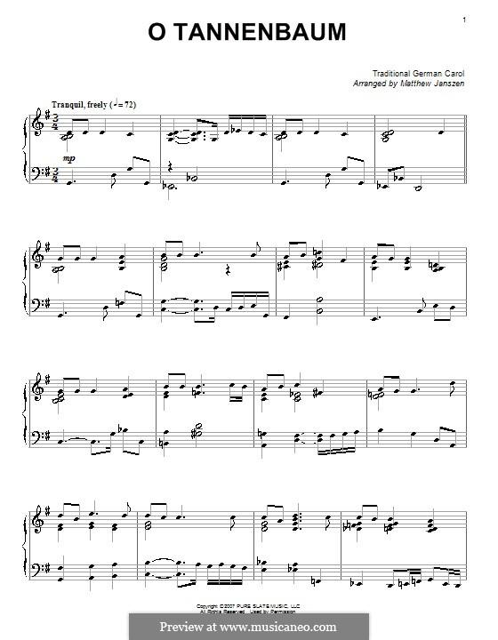 O Tannenbaum, für Klavier: Version von Janszen by folklore