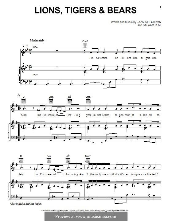 Lions, Tigers & Bears: Für Stimme und Klavier (oder Gitarre) by Salaam Remi