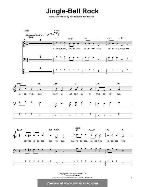 Jingle Bell Rock: Für Bassgitarre mit Tabulatur (Bobby Helms) by Jim Boothe, Joe Beal
