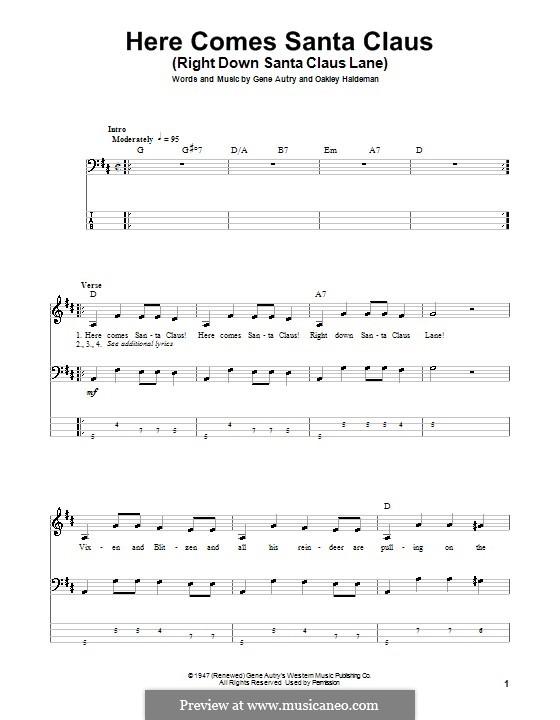 Here Comes Santa Claus (Right Down Santa Claus Lane): Für Bassgitarre mit Tabulatur by Gene Autry, Oakley Haldeman