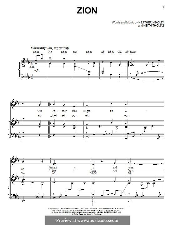 Zion (Heather Headley): Für Stimme und Klavier (oder Gitarre) by Keith Thomas