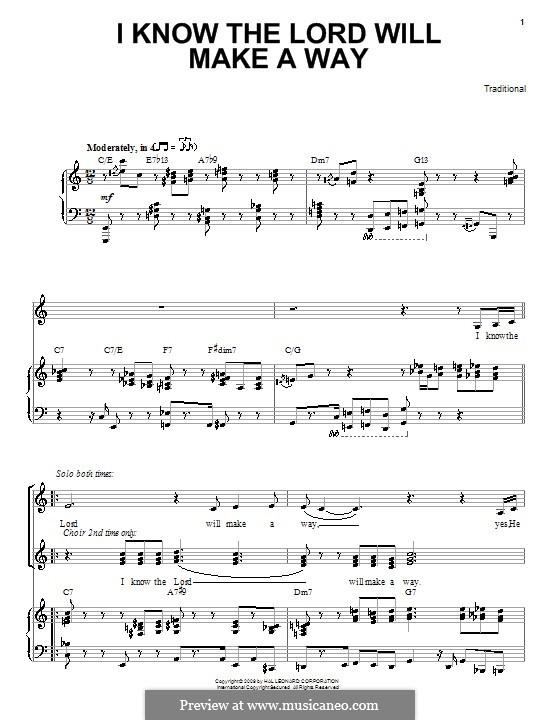 I Know the Lord Will Make a Way: Für Stimme und Klavier (oder Gitarre) by folklore