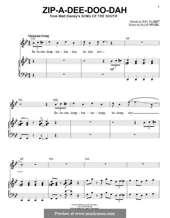 Zip-A-Dee-Doo-Dah: Für Stimme mit Klavier oder Gitarre (Louis Armstrong) by Allie Wrubel