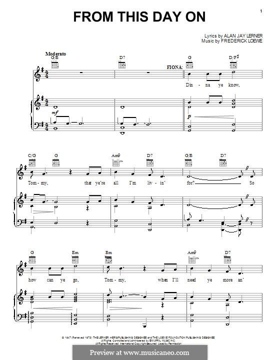 From This Day on: Für Stimme und Klavier (oder Gitarre) by Frederick Loewe