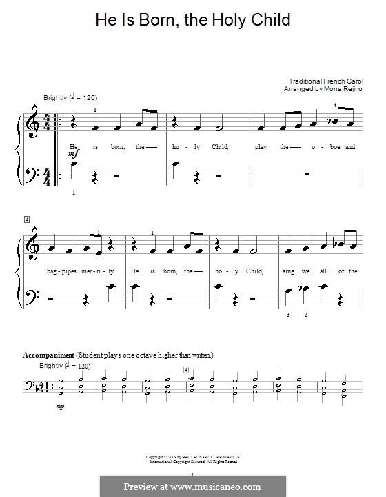 He Is Born, the Holy Child (Il est ne, le divin enfant): Für Klavier (sehr leichte Fassung) by folklore