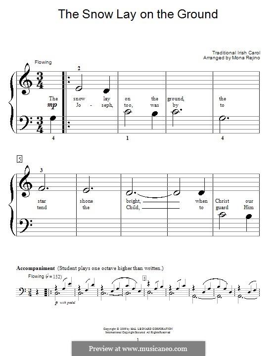 The Snow Lay on the Ground: Für Klavier (sehr leichte Fassung) by folklore