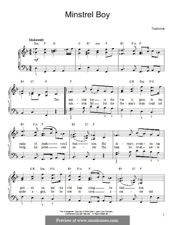 The Minstrel Boy (The Moreen): Für Klavier, leicht by folklore