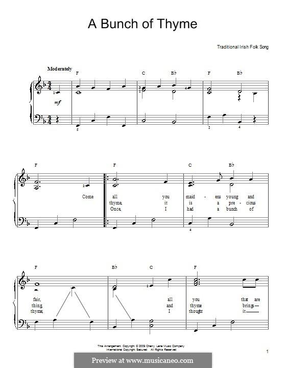 A Bunch of Thyme: Für Klavier, leicht by folklore