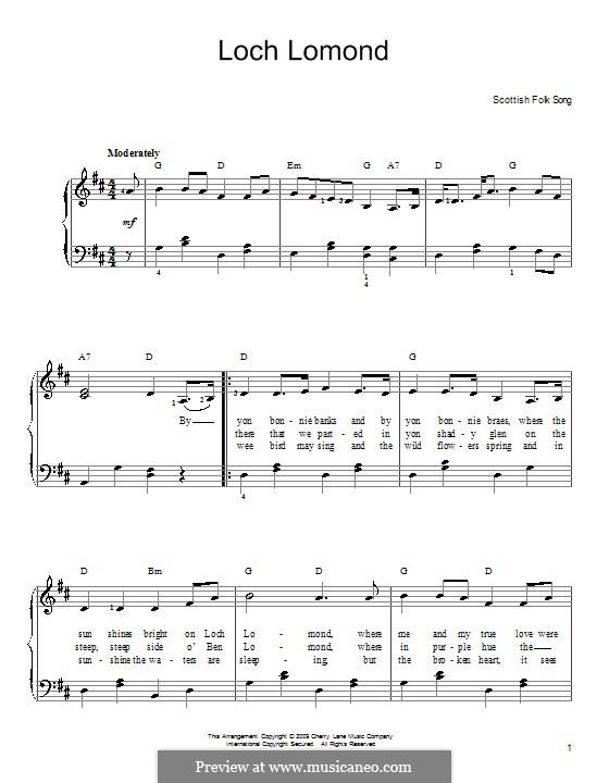 Loch Lomond: Für Klavier, leicht by folklore
