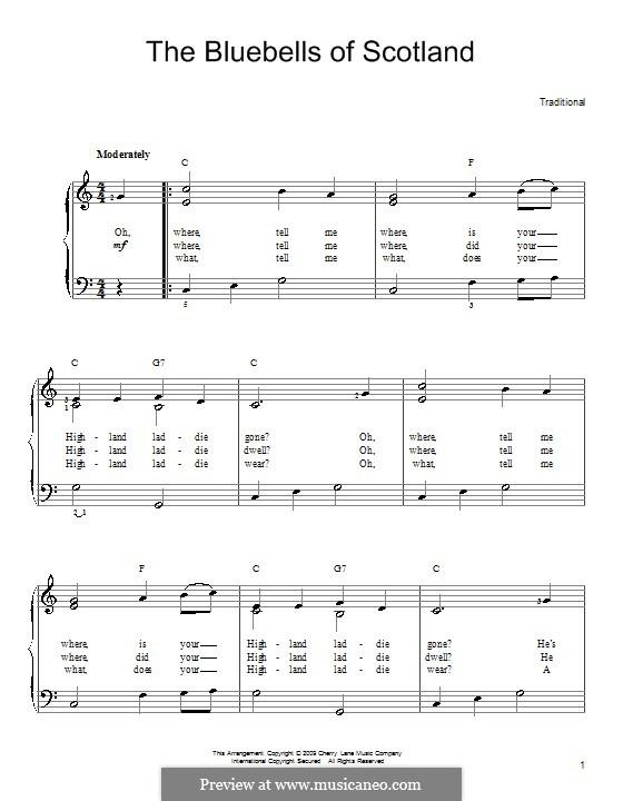 Blue Bells of Scotland: Für Klavier, leicht by folklore