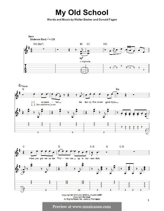 My Old School (Steely Dan): Für Gitarre mit Tabulatur by Donald Fagen, Walter Becker