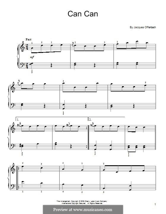Cancan: Klavierversion für Anfänger by Jacques Offenbach