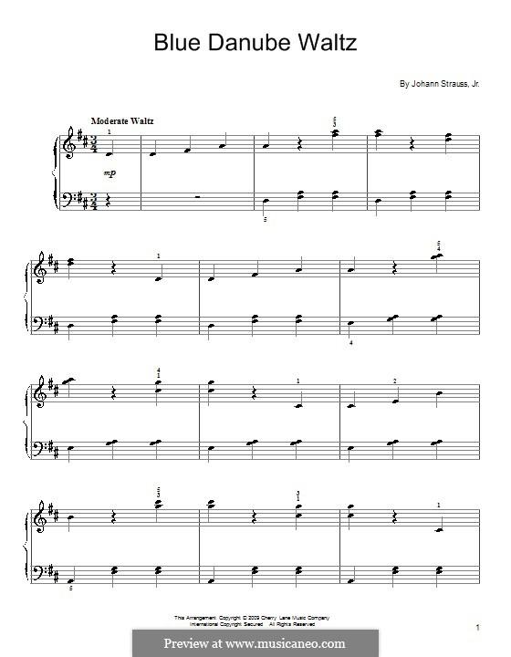 An der schönen blauen Donau, für Klavier, Op.314: Version für leichtes Klavier by Johann Strauss (Sohn)