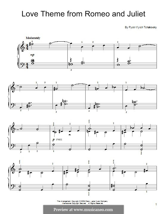 Love Theme: Arrangement for easy piano by Pjotr Tschaikowski