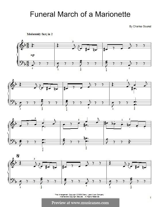 Trauermarsch einer Marionette: Einfache Noten für Klavier by Charles Gounod