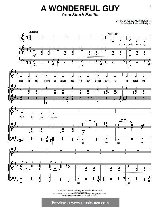 A Wonderful Guy (from South Pacific): Für Stimme mit Klavier oder Gitarre by Richard Rodgers