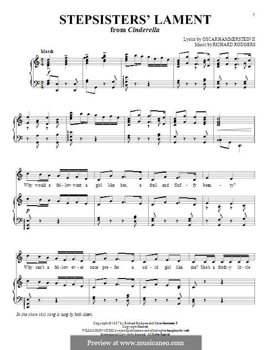 Stepsisters' Lament (from Cinderella): Für Stimme mit Klavier oder Gitarre by Richard Rodgers