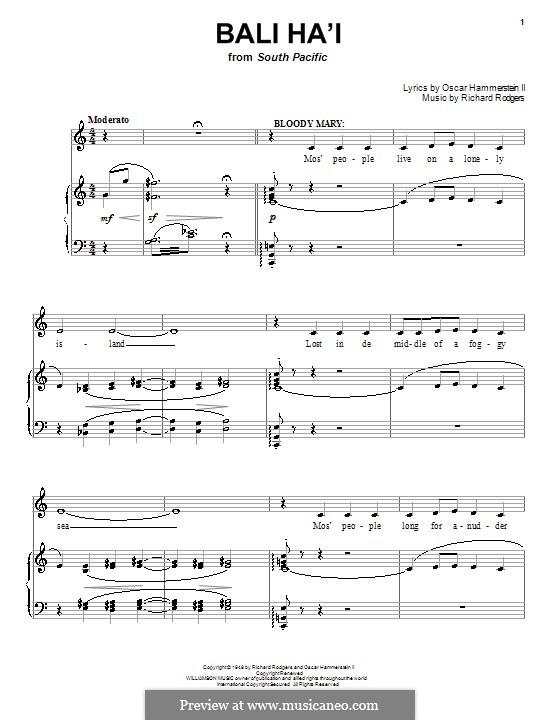 Bali Ha'i: Für Stimme und Klavier (oder Gitarre) by Richard Rodgers