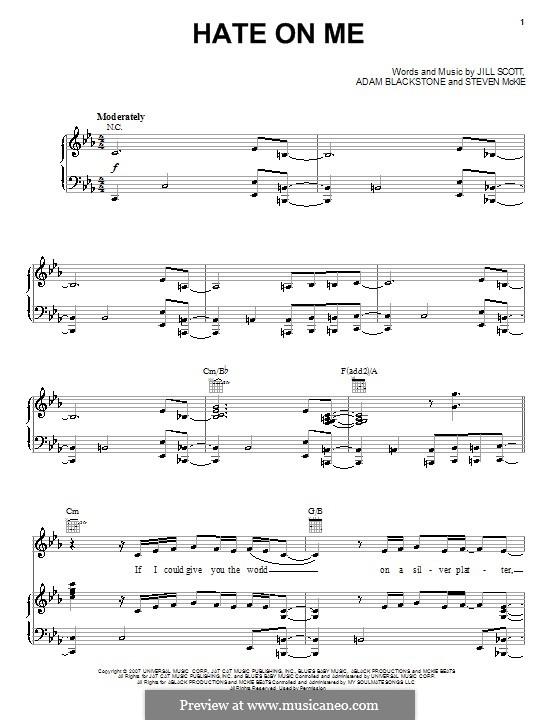 Hate on Me: Für Stimme und Klavier (oder Gitarre) by Adam Blackstone, Steven McKie