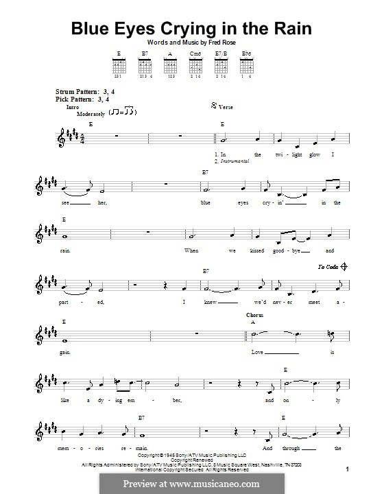 Blue Eyes Crying in the Rain (Willie Nelson): Für Gitarre (Sehr leichte Fassung) by Fred Rose