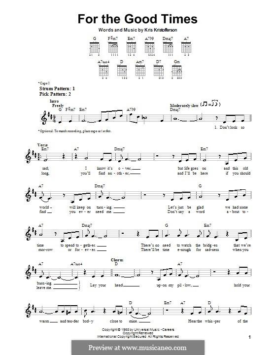 For the Good Times (Ray Price): Für Gitarre (Sehr leichte Fassung) by Kris Kristofferson