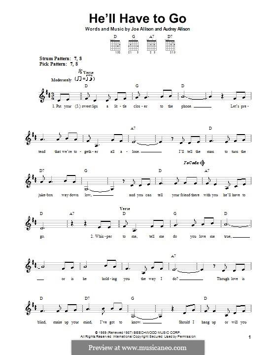He'll Have To Go (Jim Reeves): Für Gitarre (Sehr leichte Fassung) by Audrey Allison, Joe Allison