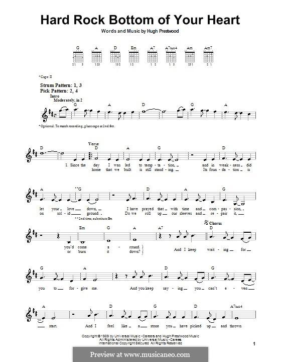 Hard Rock Bottom of Your Heart (Randy Travis): Für Gitarre (Sehr leichte Fassung) by Hugh Prestwood