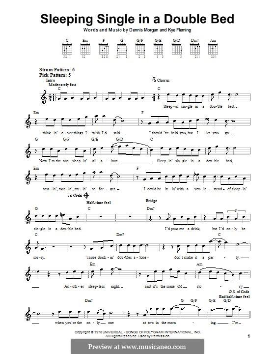 Sleeping Single in a Double Bed (Barbara Mandrell): Für Gitarre (Sehr leichte Fassung) by Dennis Morgan, Kye Fleming
