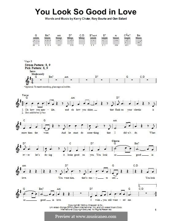 You Look So Good in Love (George Strait): Für Gitarre (Sehr leichte Fassung) by Glen Ballard, Kerry Chater, Rory Bourke