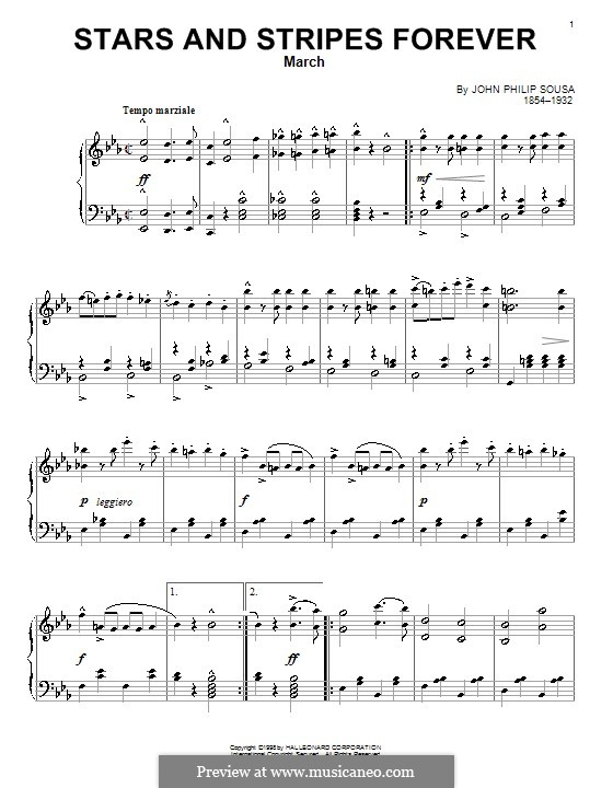 Stars and Stripes Forever : Für Klavier by John Philip Sousa