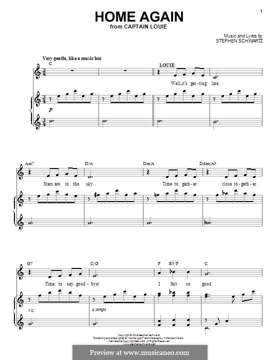 Home Again: Für Stimme und Klavier (oder Gitarre) by Stephen Schwartz