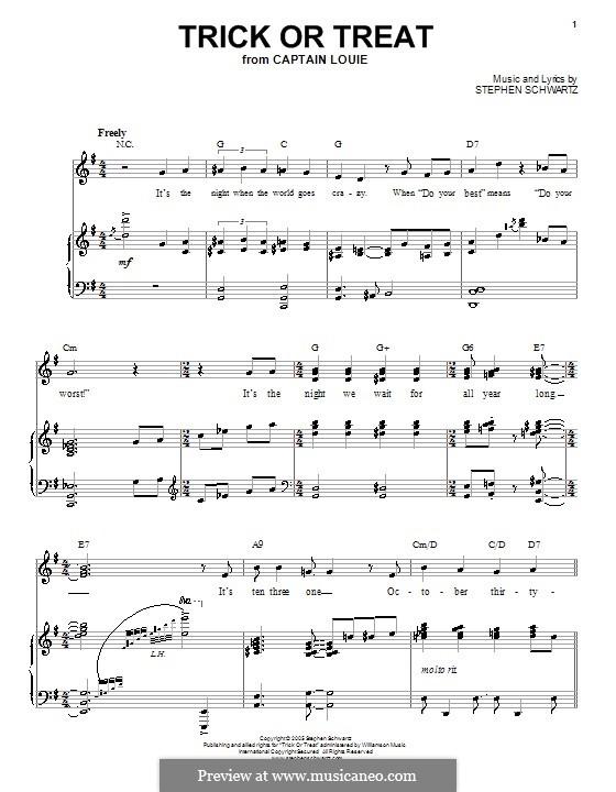Trick or Treat: Für Stimme und Klavier (oder Gitarre) by Stephen Schwartz