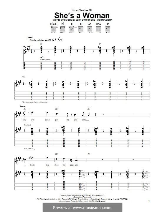 She's a Woman (The Beatles): Für Gitarre mit Tabulatur by John Lennon, Paul McCartney