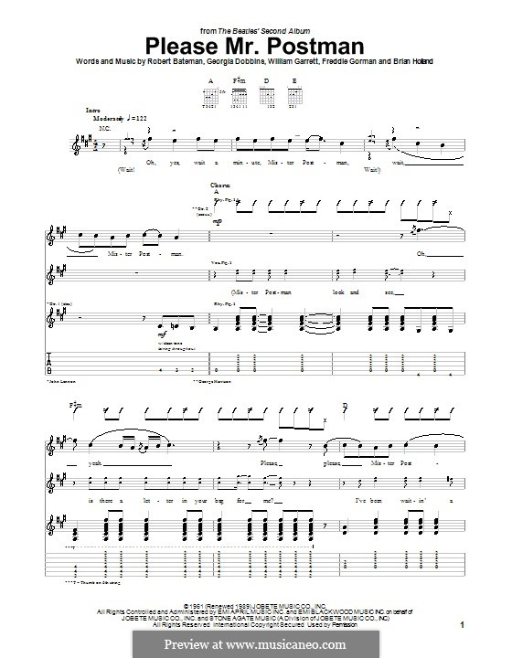 Please Mr. Postman: Für Gitarre mit Tabulatur (The Beatles) by Brian Holland, Freddie Gorman, Georgia Dobbins, Robert Bateman, William Garrett