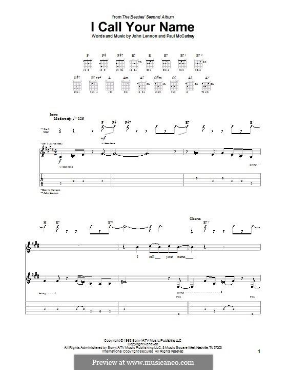 I Call Your Name (The Beatles): Für Gitarre mit Tabulatur by John Lennon, Paul McCartney