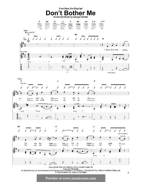 Don't Bother Me (The Beatles): Für Gitarre mit Tabulatur by George Harrison