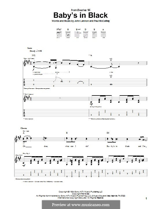 Baby's in Black (The Beatles): Für Gitarre mit Tabulatur by John Lennon, Paul McCartney