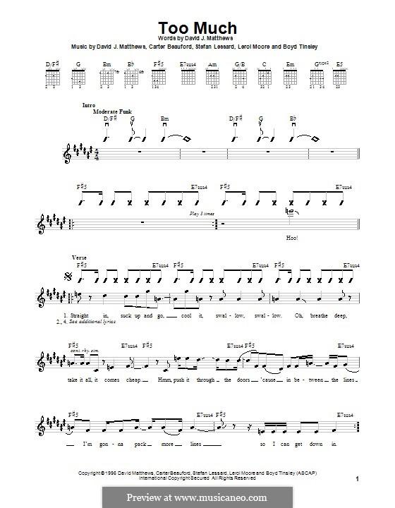 Too Much (Dave Matthews Band): Für Gitarre (mit Schlagmuster) by Boyd Tinsley, Carter Beauford, David J. Matthews, Leroi Moore, Stefan Lessard