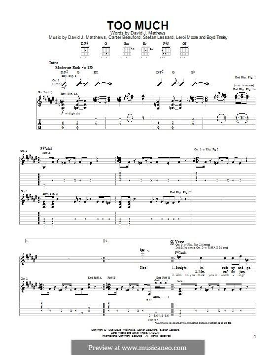 Too Much (Dave Matthews Band): Für Gitarre mit Tabulatur by Boyd Tinsley, Carter Beauford, David J. Matthews, Leroi Moore, Stefan Lessard