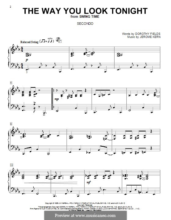 The Way You Look Tonight, for Piano: For four hands by Jerome Kern