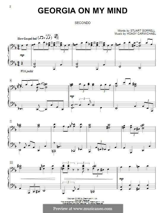 Georgia on My Mind, for Piano: Version für Klavier, vierhändig by Hoagy Carmichael