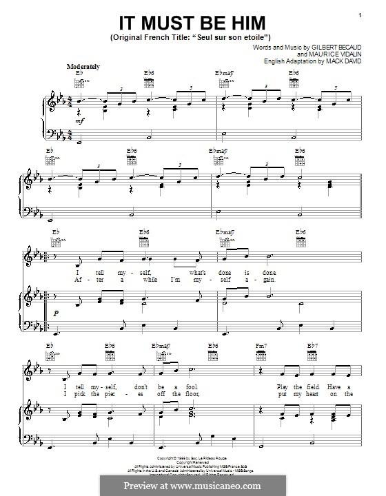 It Must Be Him (Vikki Carr): Für Stimme und Klavier (oder Gitarre) by Gilbert Becaud