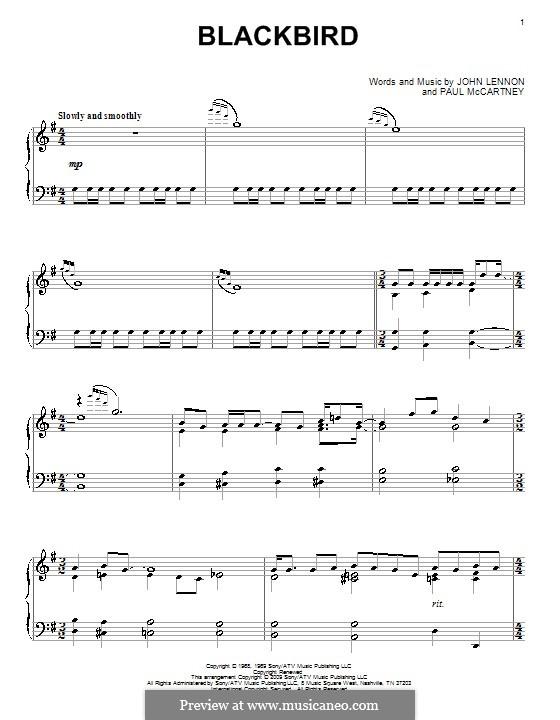 Blackbird (The Beatles): Für Klavier (Noten von hohem Qualität) by John Lennon, Paul McCartney