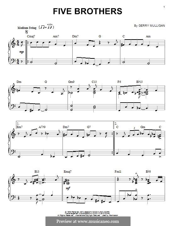 Five Brothers: Für Klavier by Gerry Mulligan