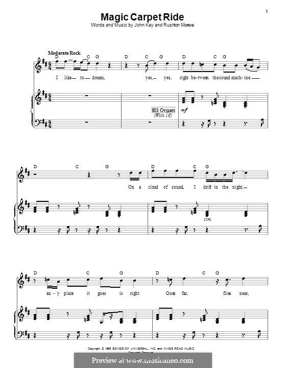 Magic Carpet Ride (Steppenwolf): Für Stimme und Klavier (oder Gitarre) by John Kay, Rushton Moreve