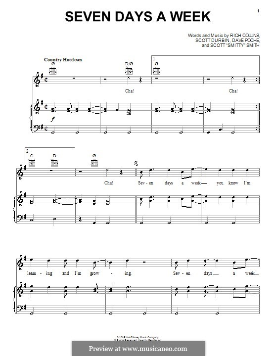 Seven Days a Week (Imagination Movers): Für Stimme und Klavier (oder Gitarre) by Dave Poche, Rich Collins, Scott Durbin, Scott Smith