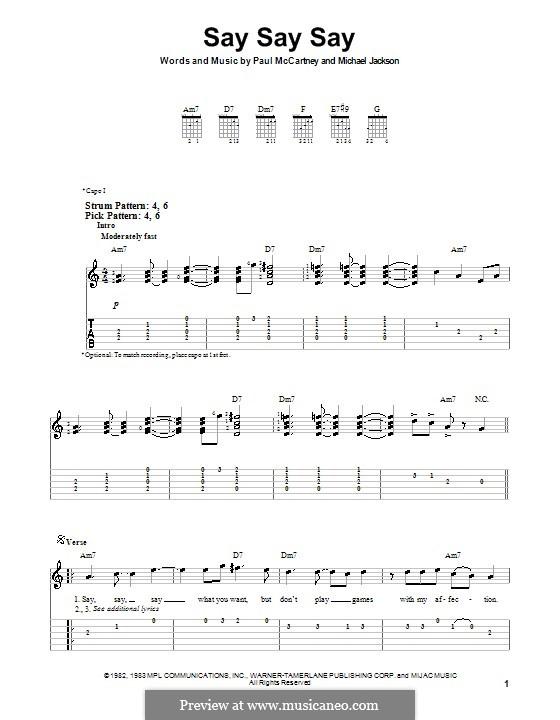 Say Say Say: Für Gitarre (Sehr leichte Fassung) by Michael Jackson, Paul McCartney