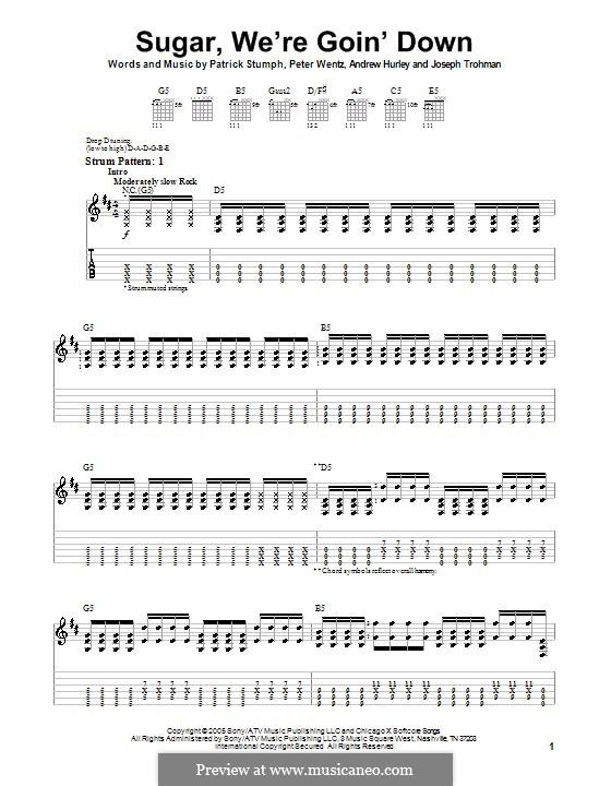 Sugar, We're Goin' Down (Fall Out Boy): Für Gitarre (Sehr leichte Fassung) by Andrew Hurley, Joseph Trohman, Patrick Stump, Peter Wentz