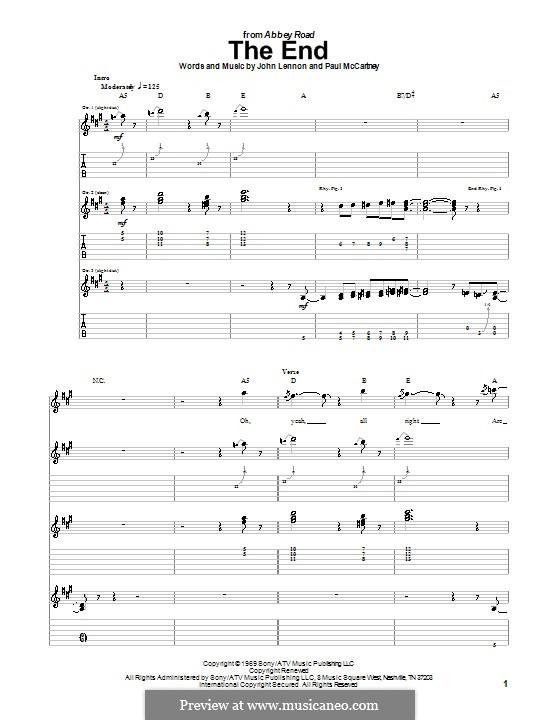 The End (The Beatles): Für Gitarre mit Tabulatur by John Lennon, Paul McCartney