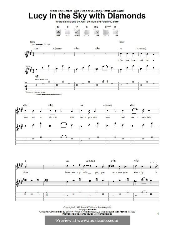 Lucy in the Sky with Diamonds (The Beatles): Für Gitarre mit Tabulatur (high quality sheet music) by John Lennon, Paul McCartney